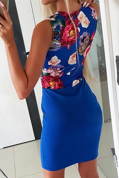 Floral Deep V Neck Sleeveless Bodycon Dress