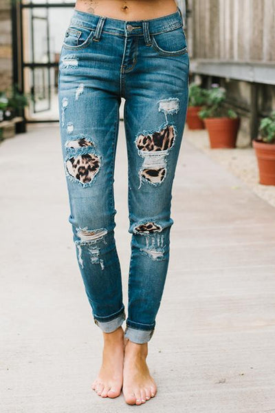 Leopard Patches Distressed Jeans