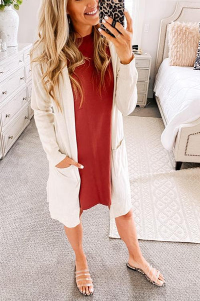 O Neck Side Slit Short Sleeve T Shirt Dress
