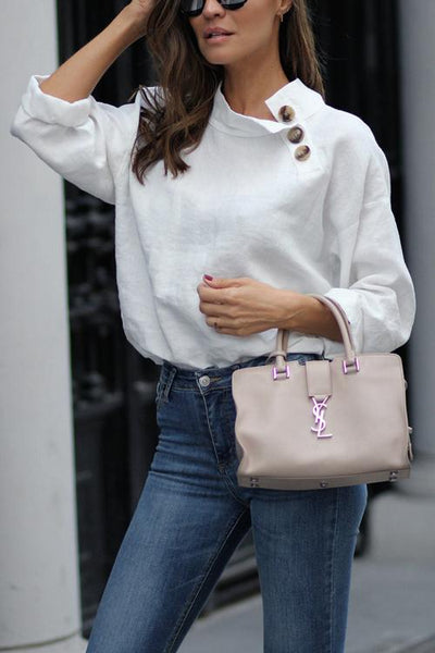 Button Long Sleeve Line Blouse