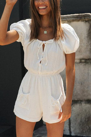 Button Lace Up Puff Sleeve Romper