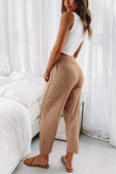 Solid Knit Drawstring Pants