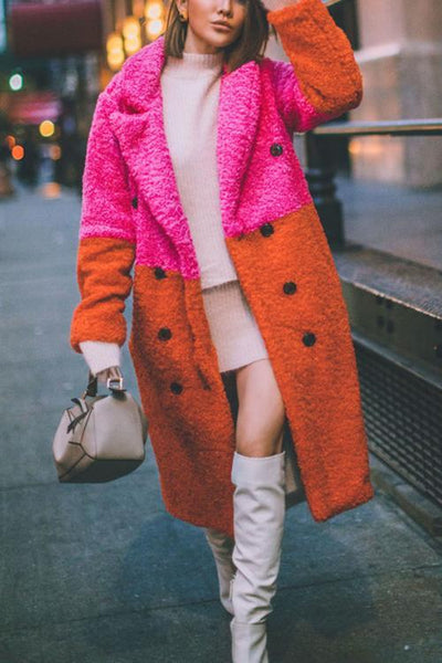 Plush Color Block Button Pocket Coat