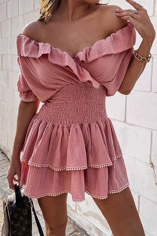 Elastic Ruffles V Neck Mini Dress