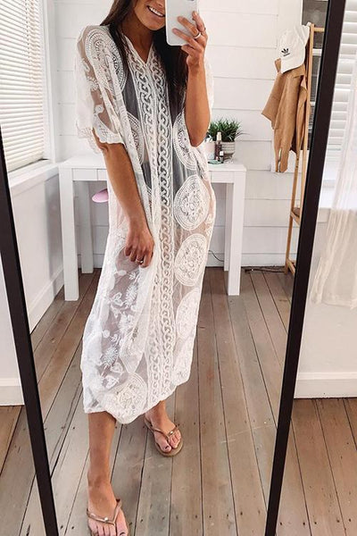 V Neck Lace Cover Up