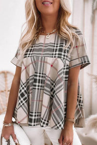 Plaid Short Sleeve Loose T Shirt