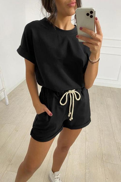 Solid O Neck Short Sleeve Shorts Set