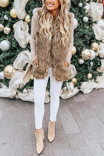 Pockets Sleeveless Faux Fur Vest