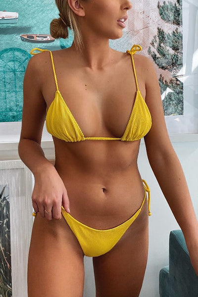 Solid Lace Up Bikini Set