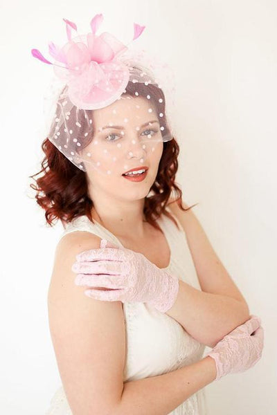 Dot Veil Feather Fascinator