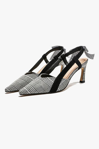 Bow Grid Pointed Toe Pumps