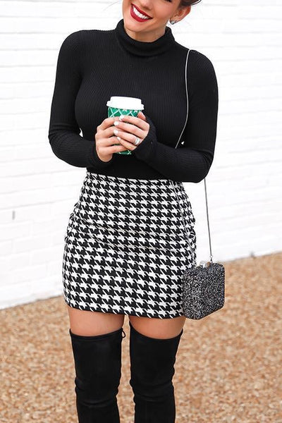 Houndstooth Mini Skirt
