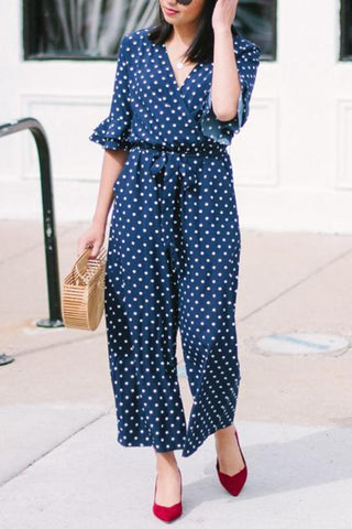 Polka Dot Hlaf Sleeve Jumpsuit