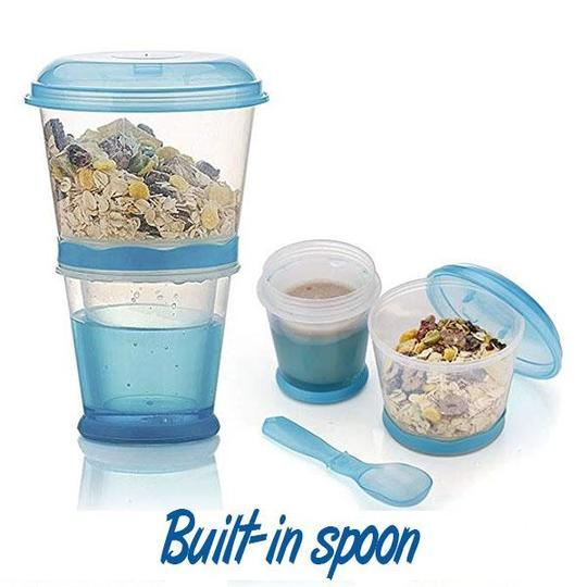 On-The-Go Dual Cereal Cup with Foldable Spoon