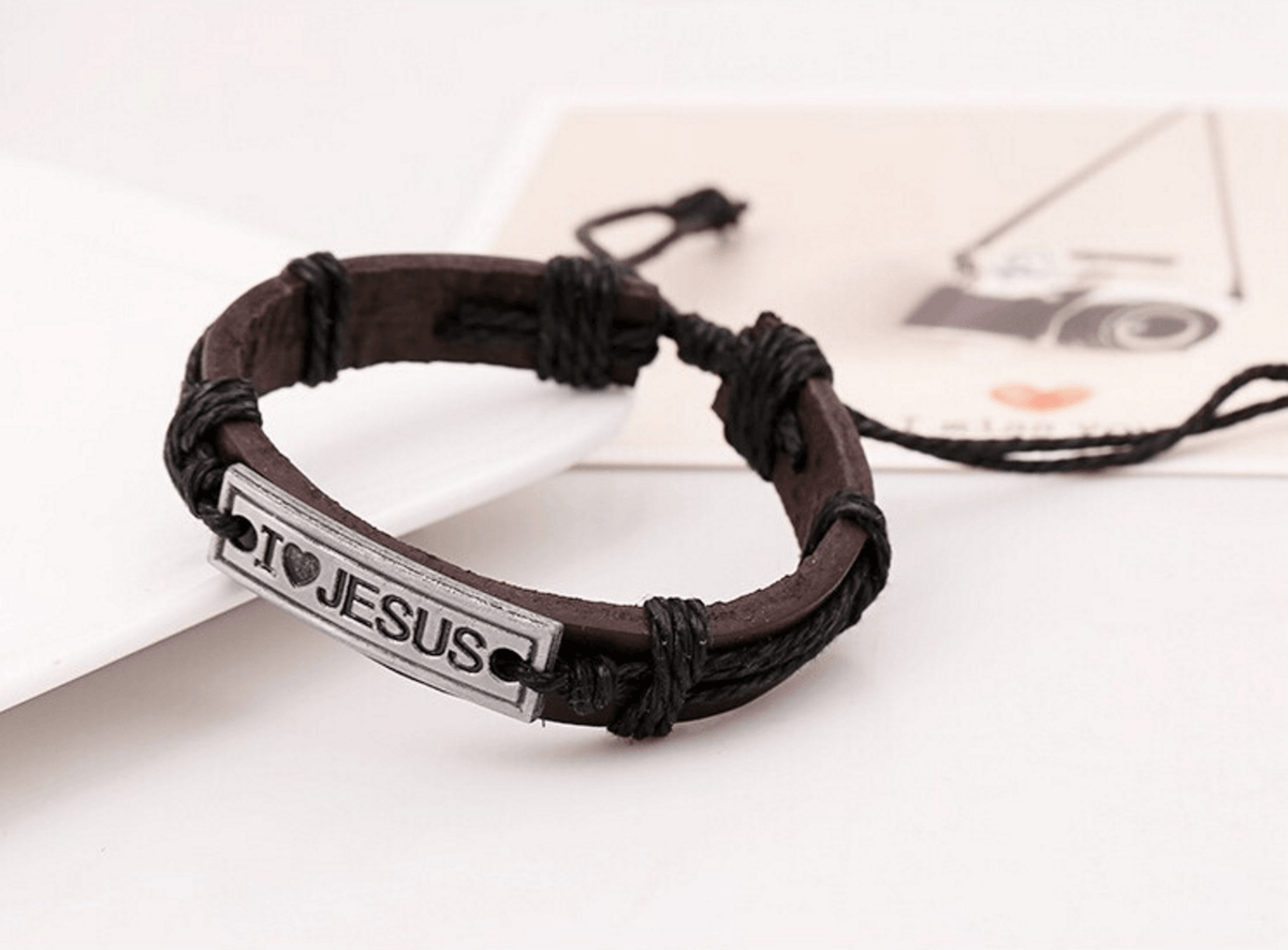 I Love Jesus Leather Bracelet - Living Christian - 3