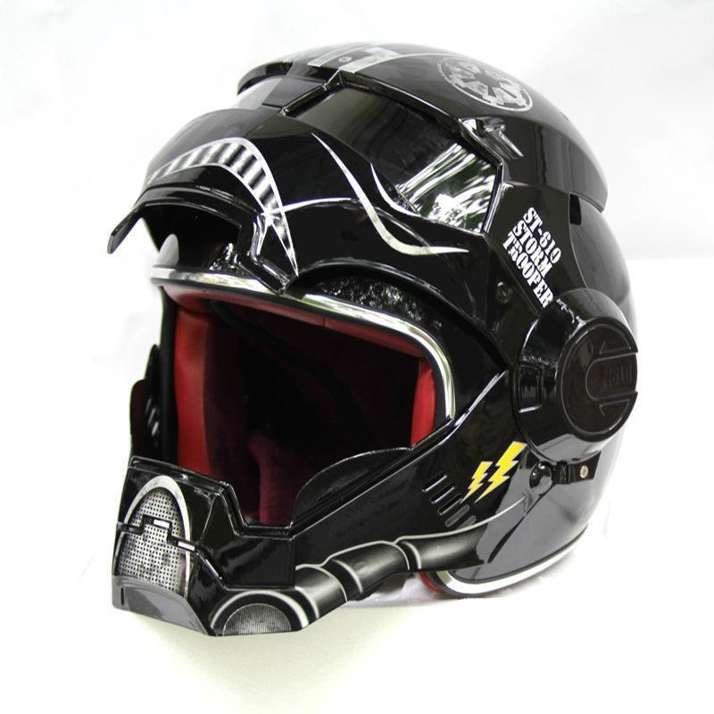 Black Storm Trooper Motorcycle Helmet