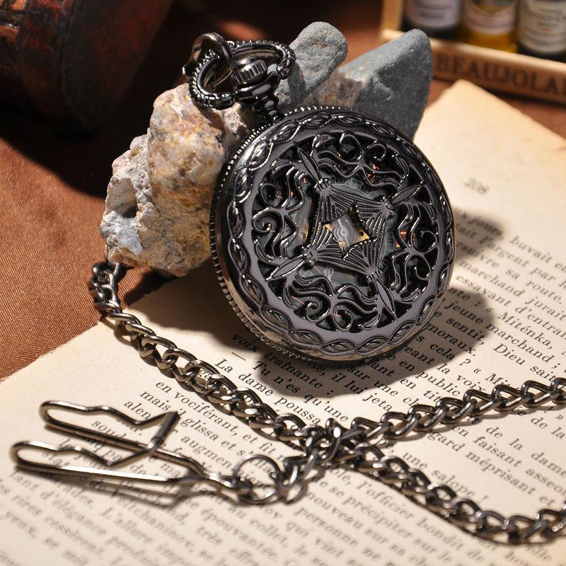 Black Skeleton Steampunk Pocket Watch