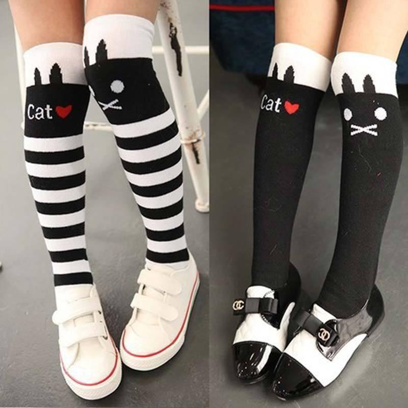 Knee High Striped I Love Cats Socks