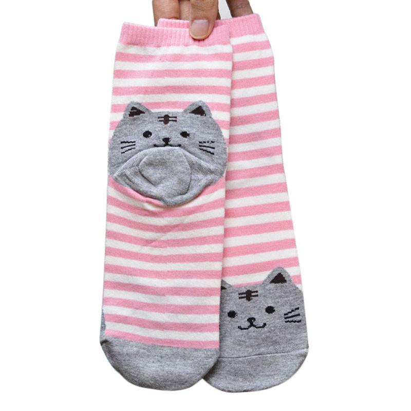 Striped Cartoon Cat Cotton Socks
