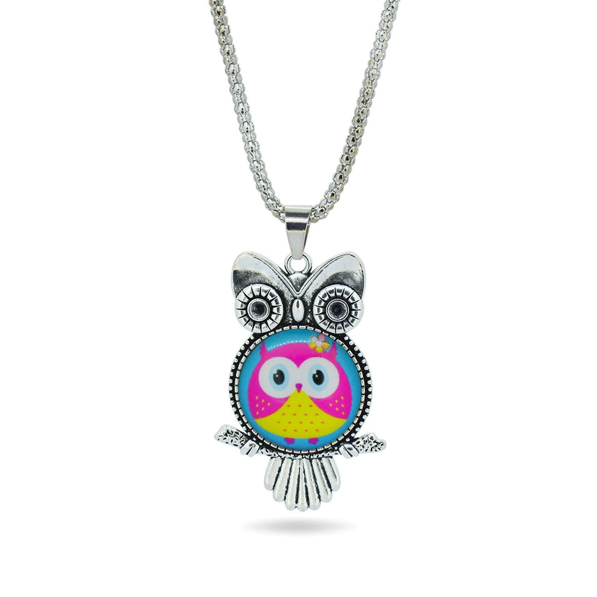 Glass Owl Pendant Necklace