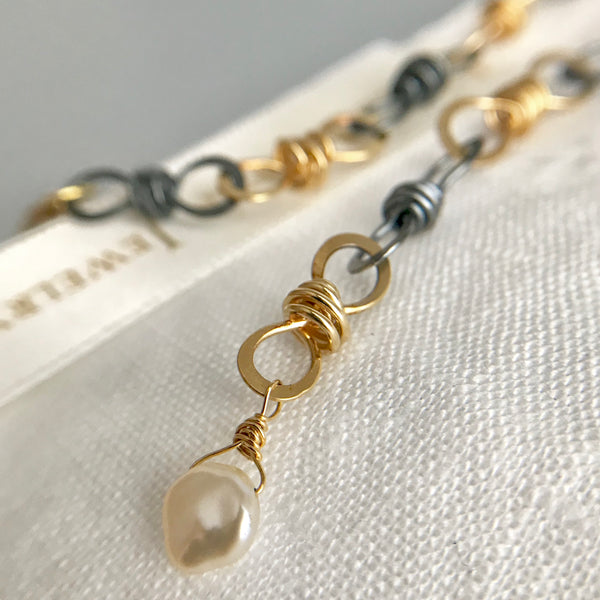 The Small Knot Link Bracelet, Oxidized Silver & Gold