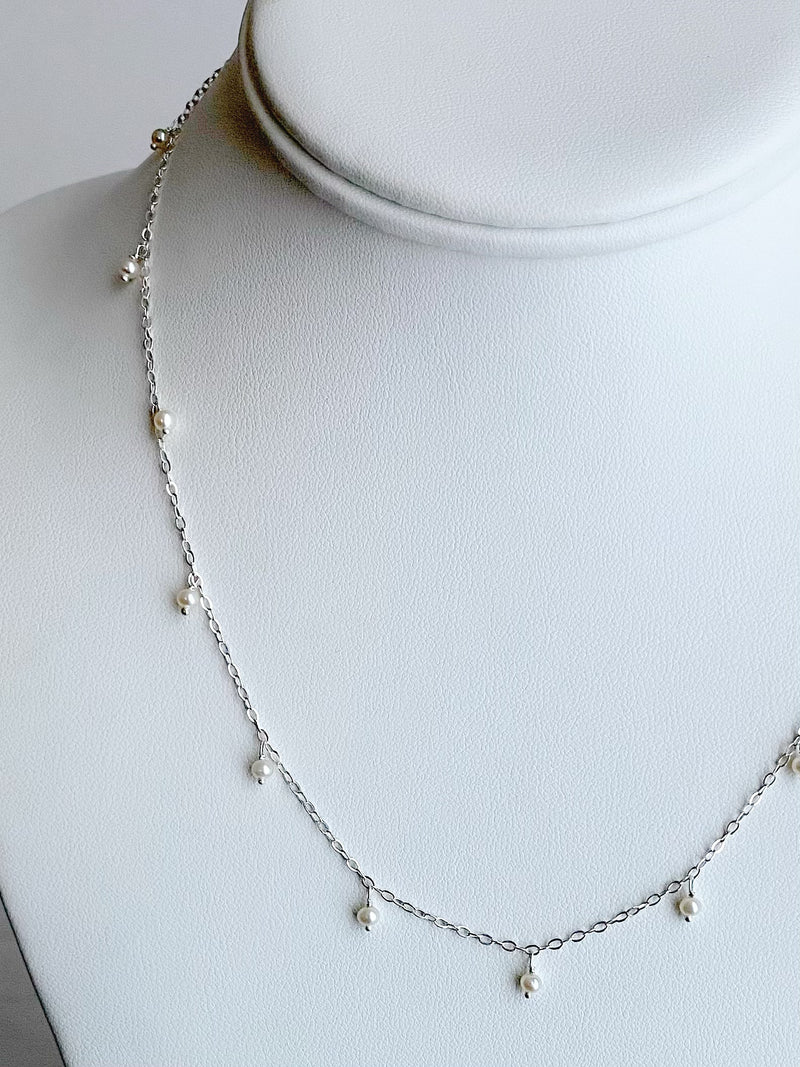 Delicate Scattered Pearl Necklace, Silver