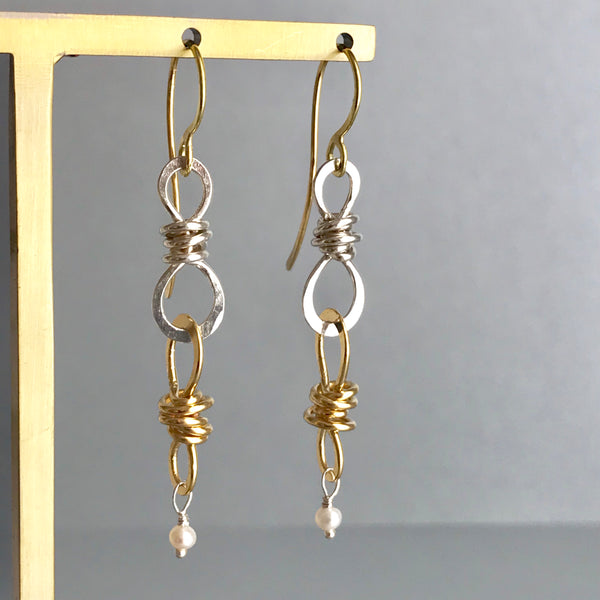 The Small Double Knot Drop Earring, Bright Silver & Gold