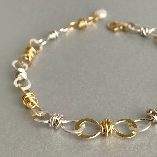 The Small Knot Link Bracelet, Bright Silver & Gold
