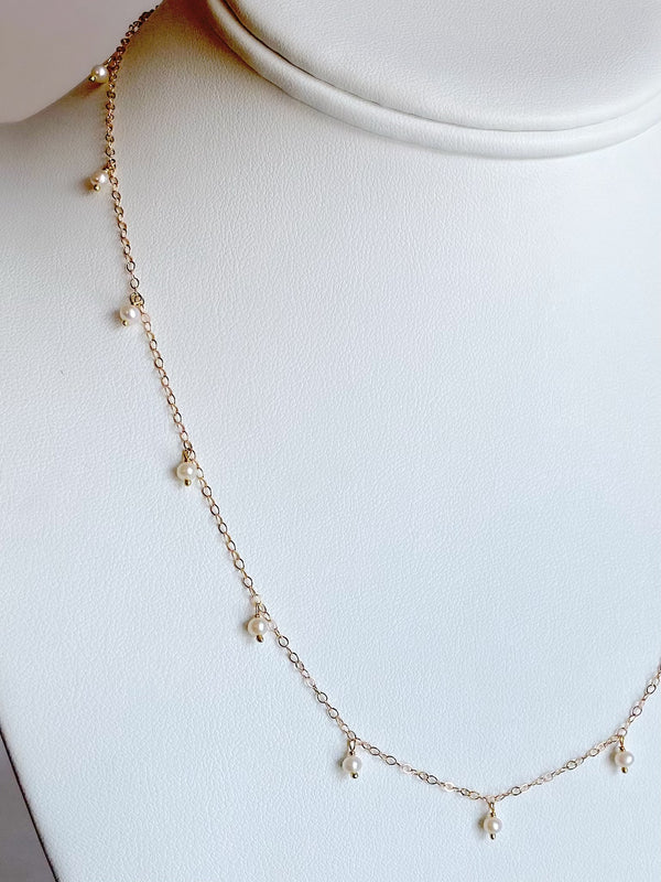 Delicate Scattered Pearl Necklace, Gold