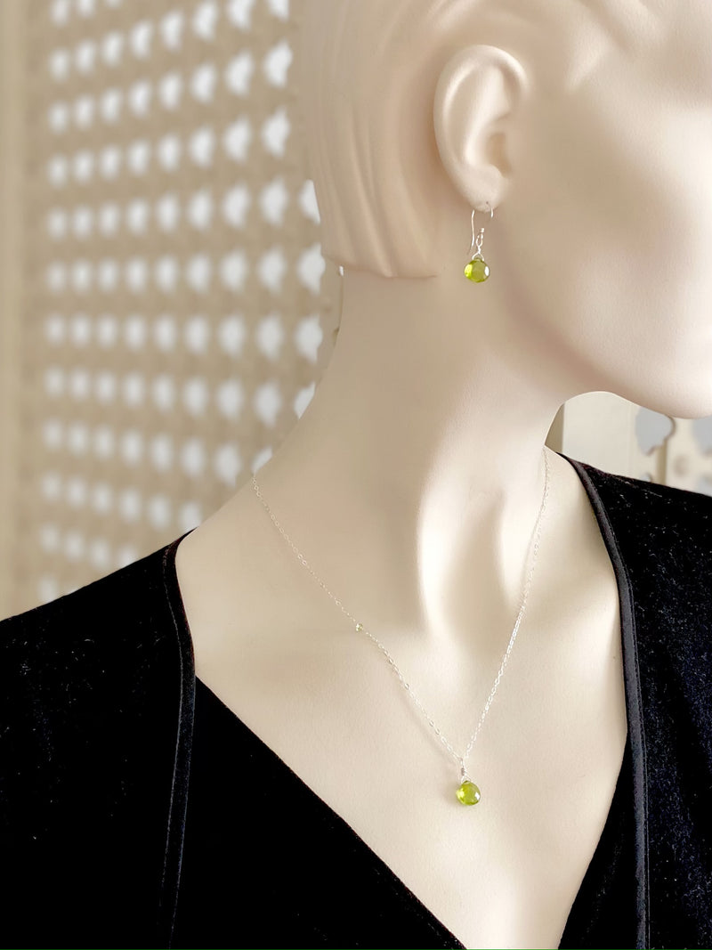 Peridot Drop Pendant Necklace