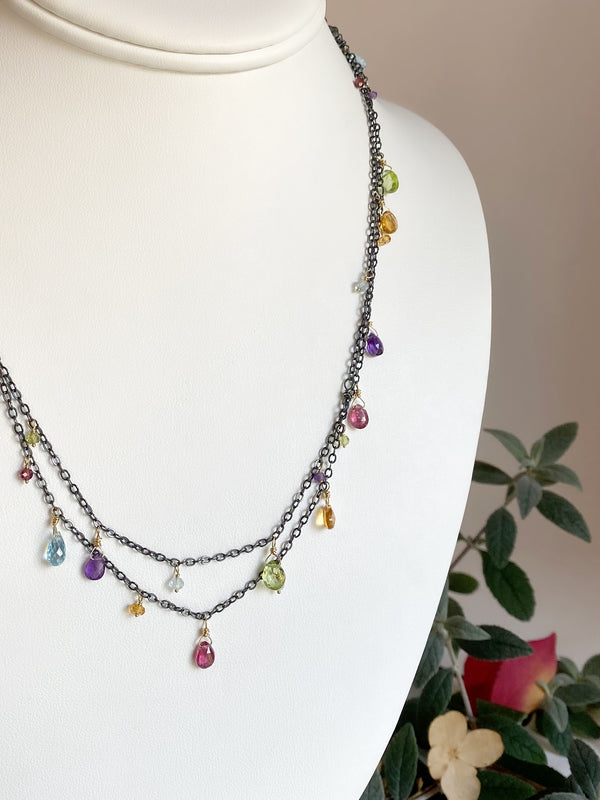 Rainbow charm necklace-S/G