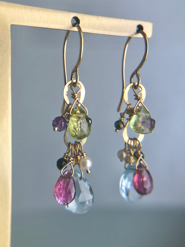 Cascading Gem Drop Earring, Gold