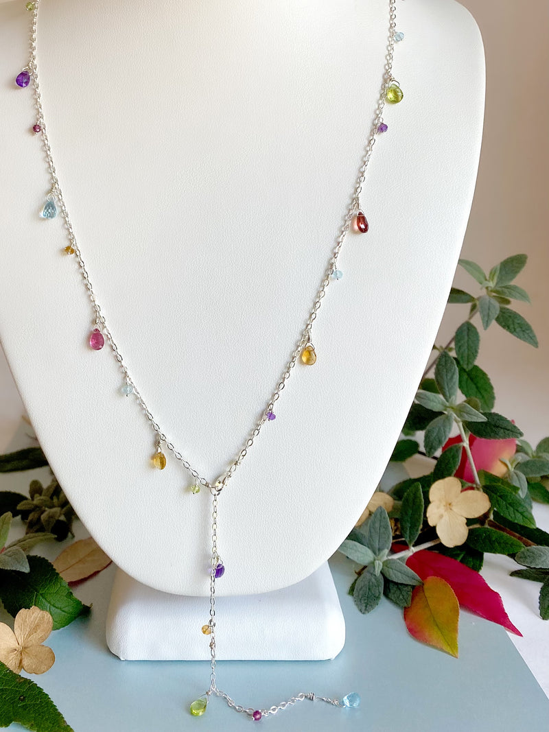 Rainbow Charm necklace-Silver