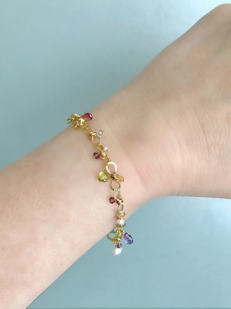 The Petite Bauble Link Bracelet with Gemstone Drops, Gold