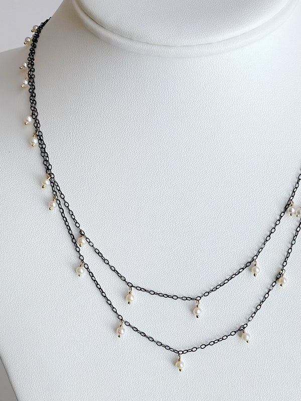 Delicate, scattered Pearl Necklace, Silver & Gold