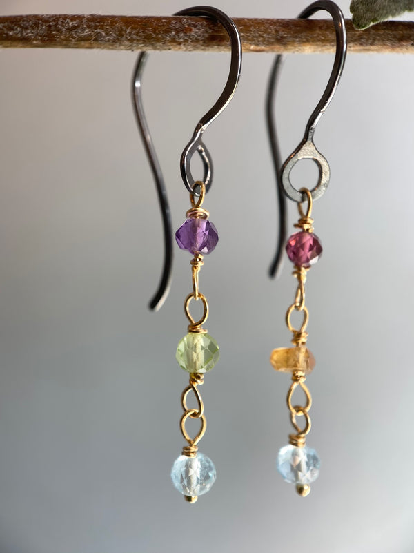 Triple rainbow stone drop earring-S/G
