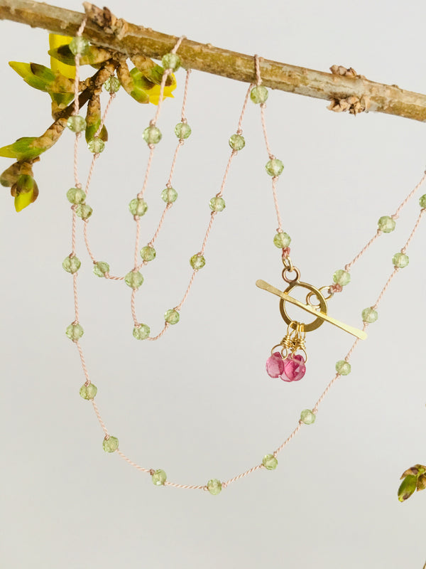 Floating Peridot Gemstone Necklace