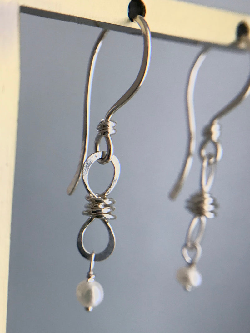 The Petite Infinity Knot Drop Earring, Silver