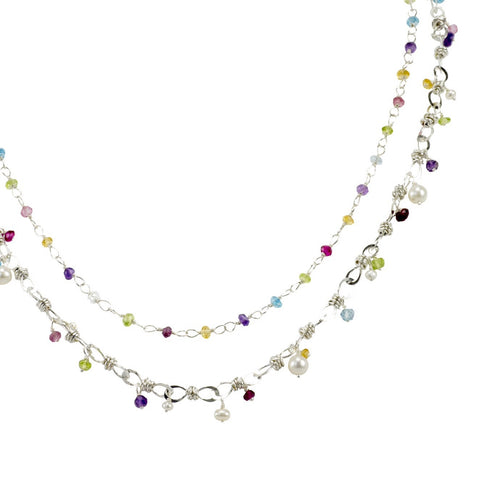 The Petite Bauble Link Necklace & The Hand Tied Gemstone Necklace