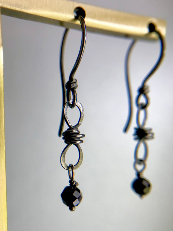 The Petite Infinity Knot Drop Earring, Oxidized Silver