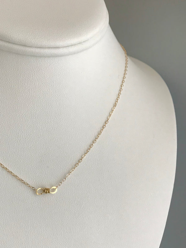 The Petite Infinity Knot Station Necklace, Gold