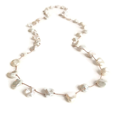 The Hand Knotted, Mixed Keshi Pearl Necklace