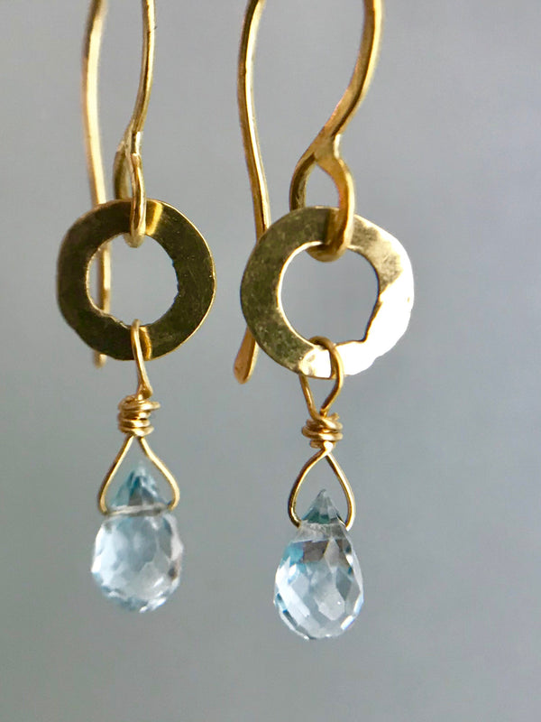 Tiny circle drops - Blue Topaz