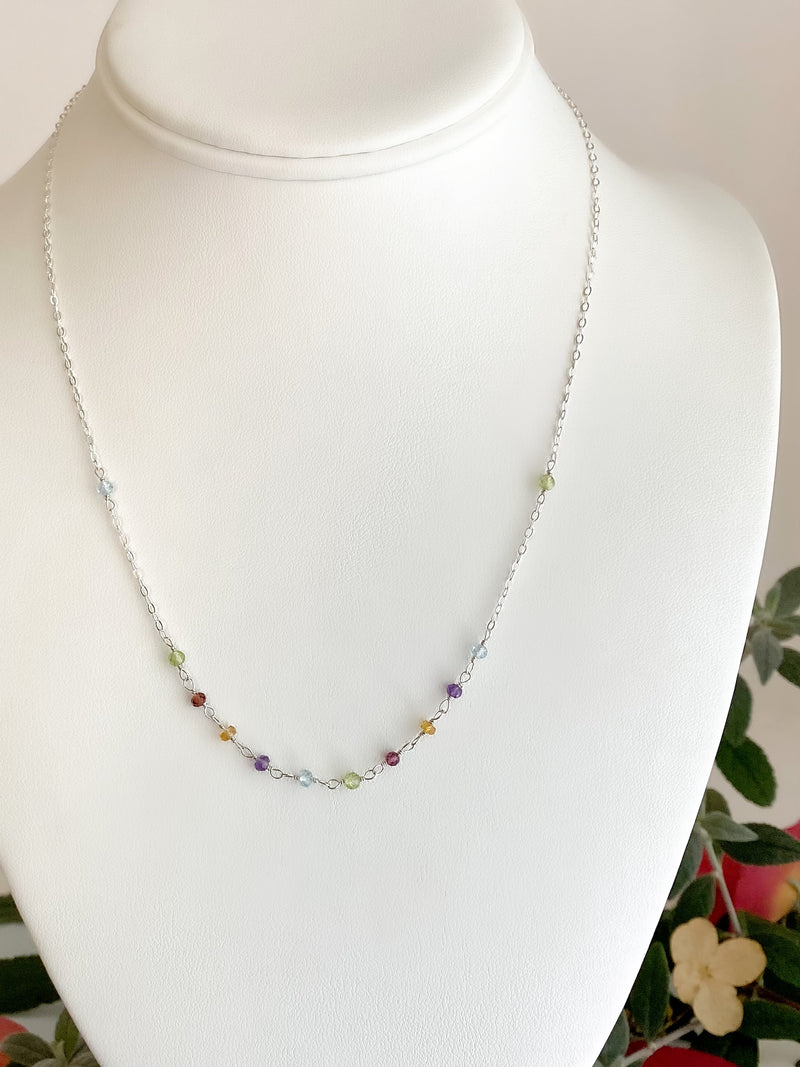 Hand tied rainbow stone front necklace-Silver