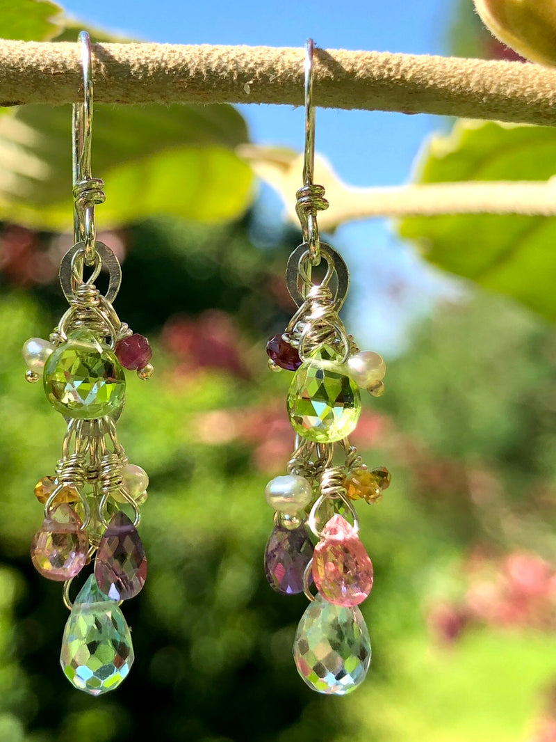 Cascading Gem Drop Earring-Silver