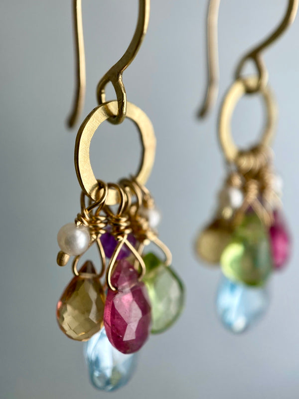 The Circle Charm Drop Earring - Multi