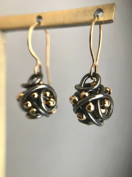 The Small Cluster Drop Earring, Oxidized Silver & Gold