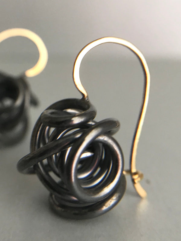 XLG Sculpture Closed Drop Earring, Oxidized Silver & Gold