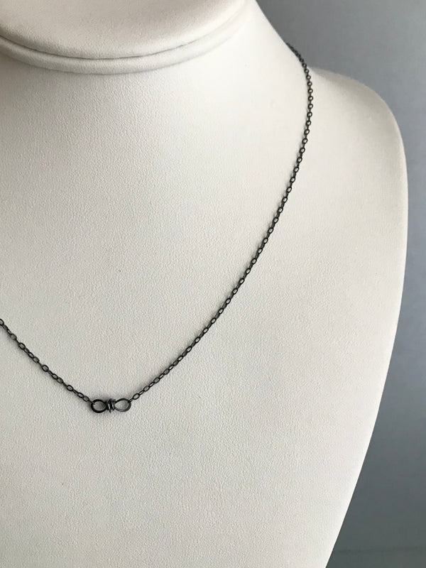 The Petite Infinity Knot Station Necklace, Oxidized Silver
