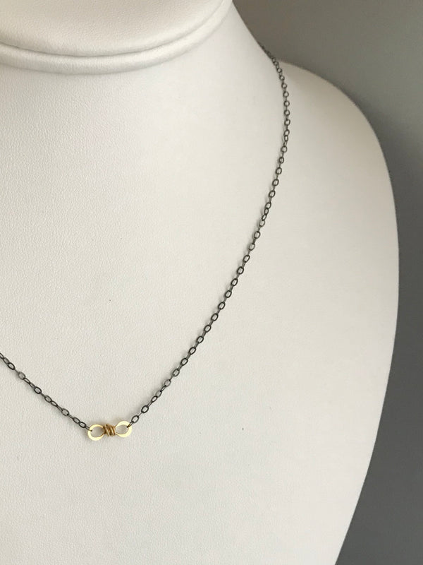 The Petite Infinity Knot Station Necklace, Oxidized Silver & Gold